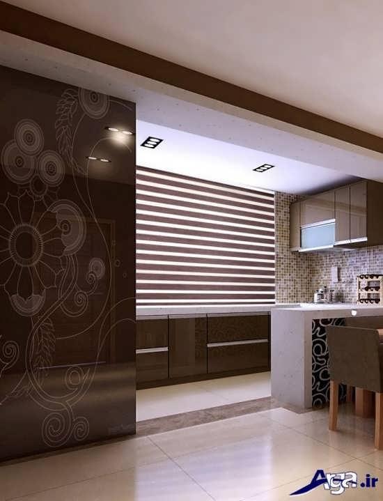 طرح زیبا پرده زبرا برای آشپزخانه