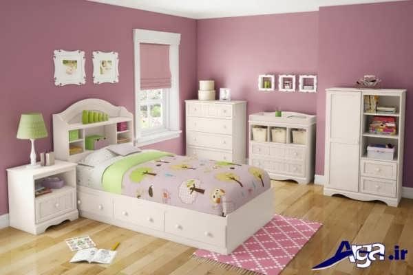 تخت و کمد با رنگ روشن برای نوجوانان دختر
