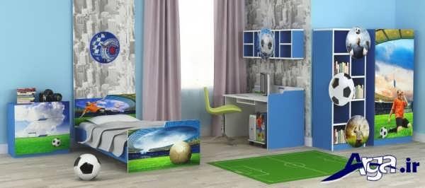 تخت و کمد با طرح اسپرت برای اتاق نوجوان پسر