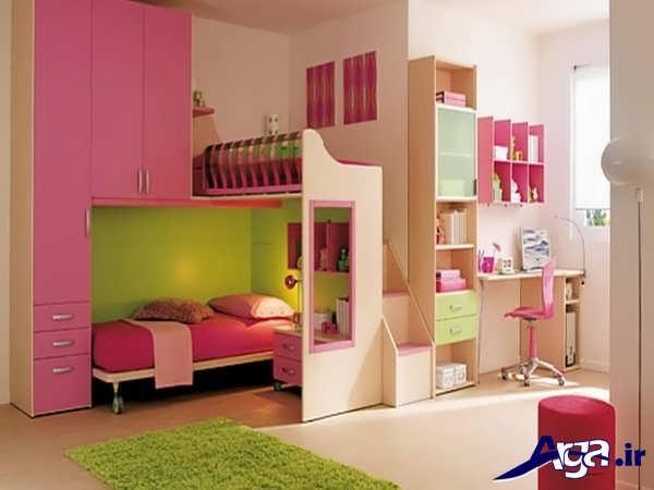 تخت و کمد برای نوجوان با طراحی کاربردی