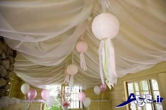 تزیین سقف اتاق نوزاد با تور و بادکنک