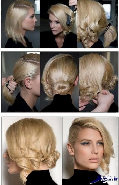 مراحل بستن موی کوتاه