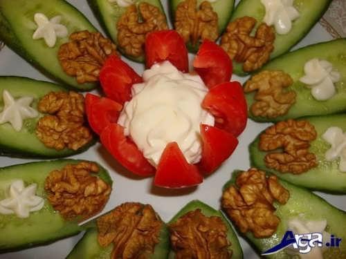 تزیین گوجه و خیار برای صبحانه