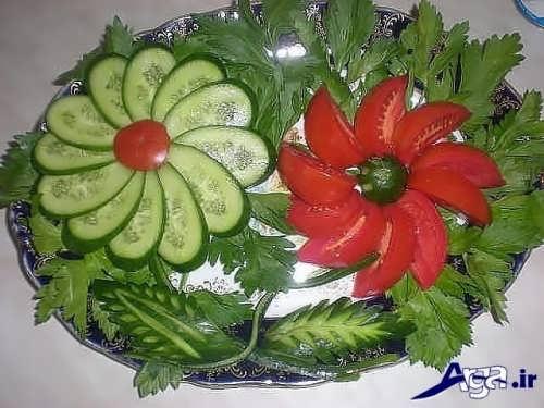 تزیین کردن گوجه و خیار
