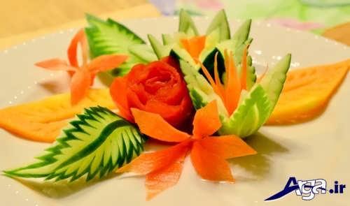 تزیین خیار و گوجه به شکل گل