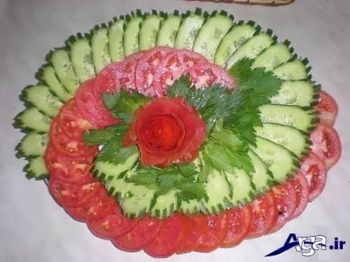 تزیین خیار و گوجه به روش ساده