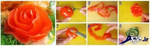 مراحل تزیین گوجه به شکل گل