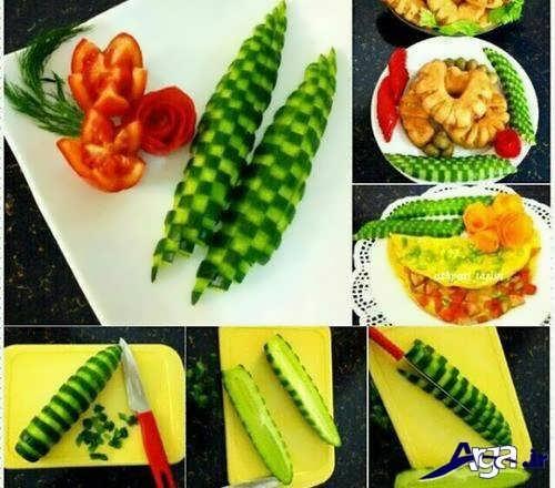 مراحل تزیین کردن خیار و گوجه