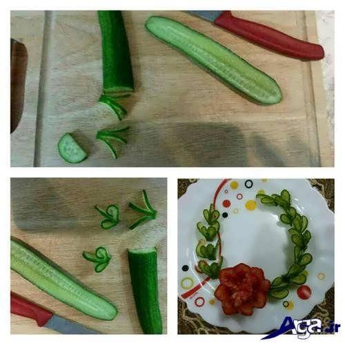 تزیین کردن گوجه و خیار به شکل گل