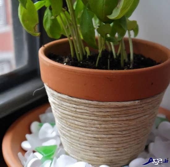 تزیین گلدان با نخ نفی