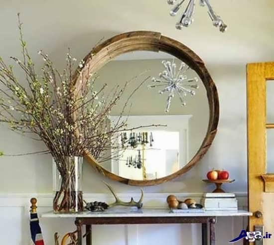 تزیین زیبای آینه با چوب