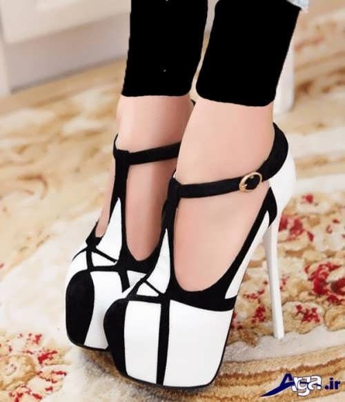 کفش مجلسی دخترانه سفید و مشکی