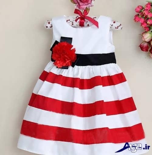مدل پیراهن قرمز و سفید دخترانه