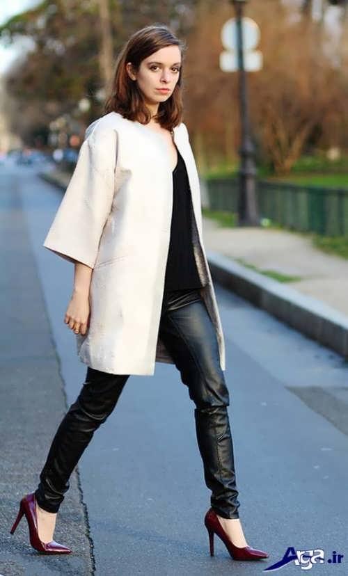 مدل مانتو آستین کیمونو سفید