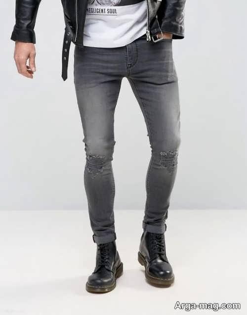 مدل شلوار لی مردانه خاکستری