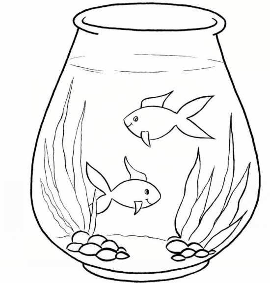 نقاشی کودکانه ماهی در تنگ