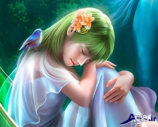 عکس کارتونی دخترانه غمگین