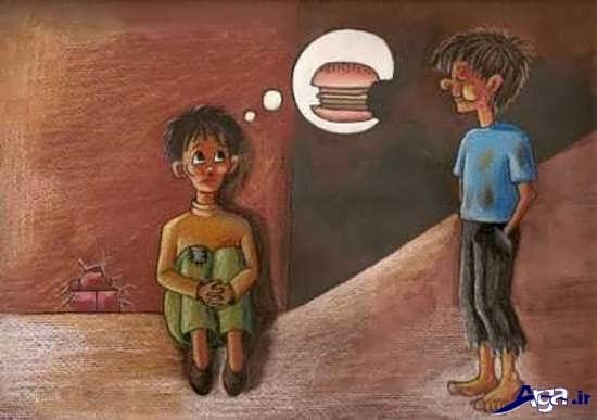 عکس پر معنی در مورد گرسنگی و فقر