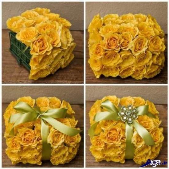 سبد گل رز زرد جذاب و متفاوت