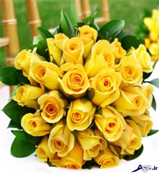 دسته گل عروس با رز های زرد