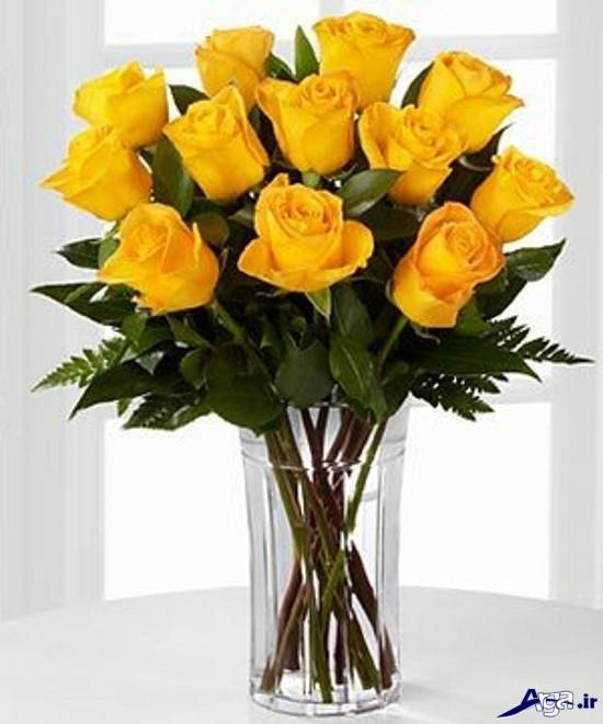 گلدان گل رز زرد شیک و متفاوت