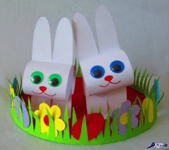 کاردستی خرگوش مقوایی برای مهد کودک