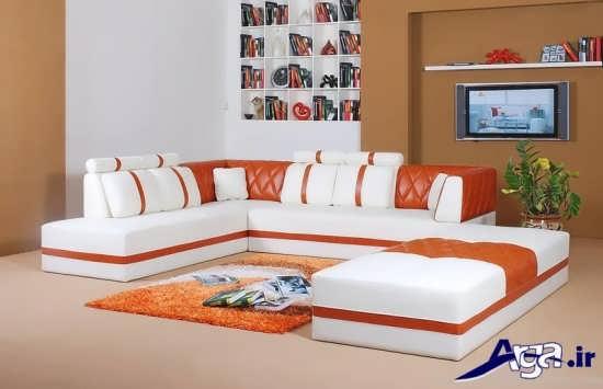 مدل مبلمان نارنجی و سفید اسپرت