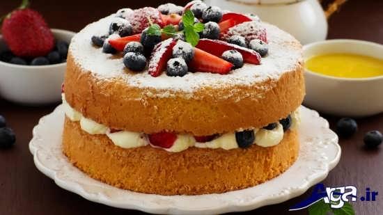 تزیین کردن کیک خانگی با انواع میوه ها