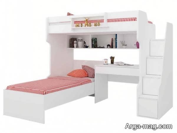 تخت و کمد نوجوان با تم سفید