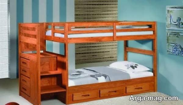 تخت و کمدی چوبی برای نوجوان