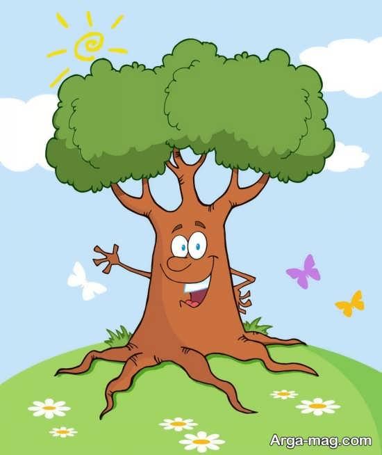 نقاشی درختان با رنگ آمیزی کودکانه