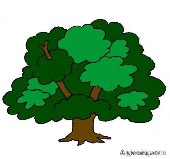 نقاشی درختان با رنگ آمیزی قشنگ