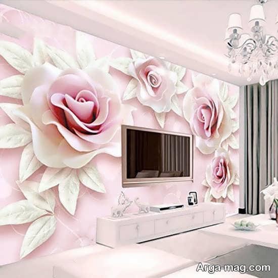 کاغذ دیواری گل پشت تی وی