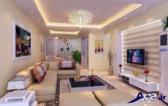 کاغذ دیواری پشت تلویزیون با طرح های ساده