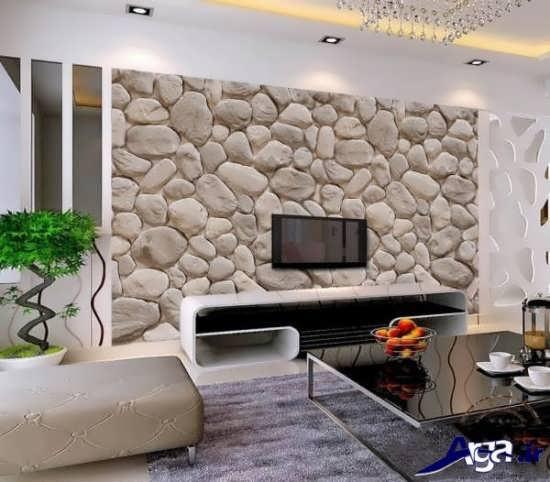 کاغذ دیواری پشت تلویزیون با طرح سنگ
