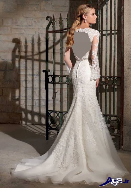 لباس عروس پشت باز با طراحی بی نظیر