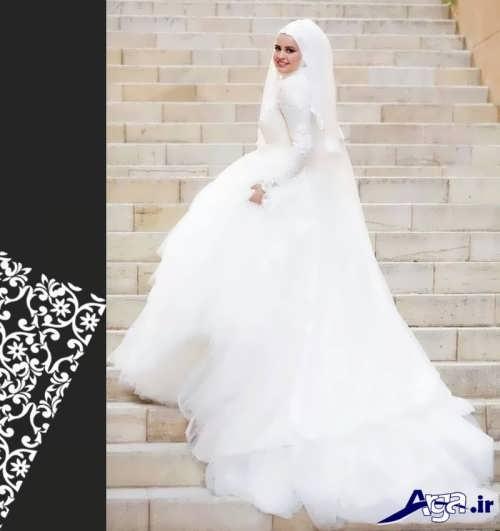 لباس عروس با حجاب دنباله دار