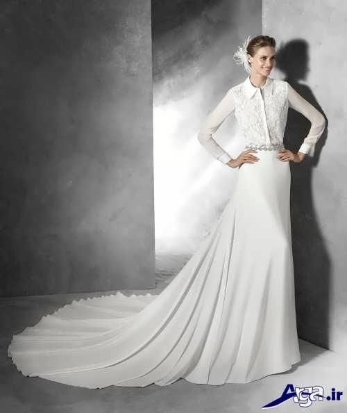 مدل لباس عروس با حجاب دنباله دار