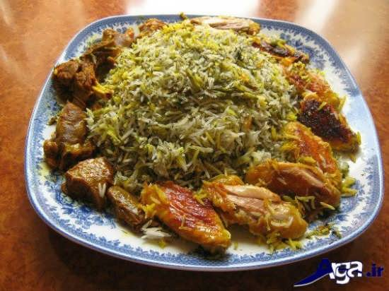تزیین باقالی پلو با گوشت