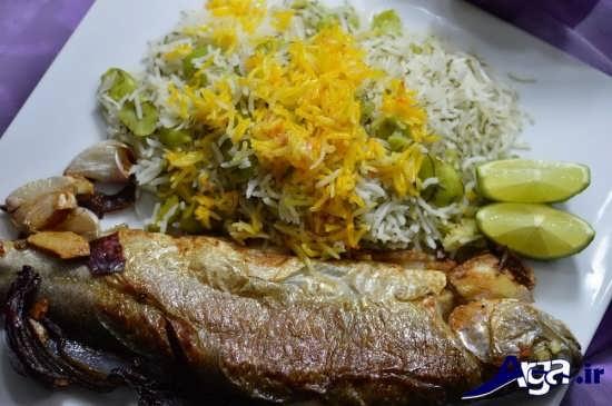 تزیین کردن باقالی پلو با ماهی