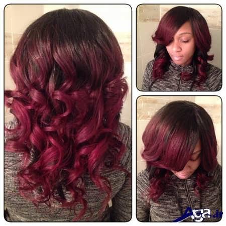 مدل موی فر با رنگ مو آلبالویی