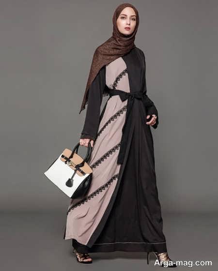مدل مانتوی عربی دورنگ