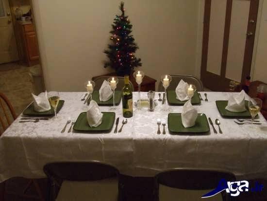تزیین ساده میز شام با شمع