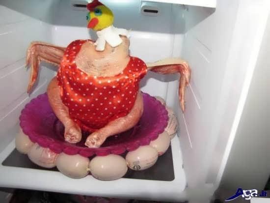 تزیین عروسکی مرغ یخچال عروس