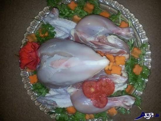 تزیین مرغ برای یخچال عروس