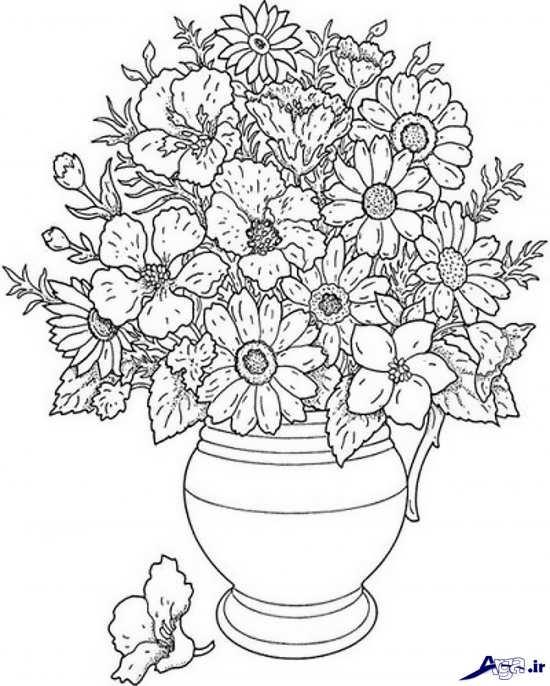 طرح گلدان گل برای گلدوزی