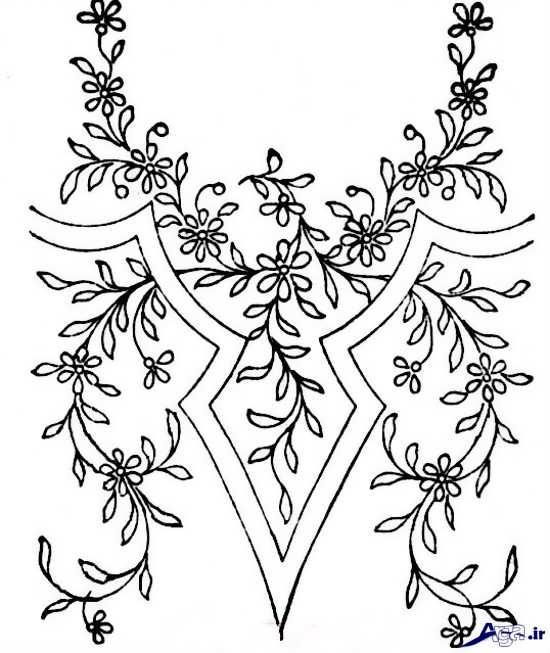 طرح برای گلدوزی یقه لباس