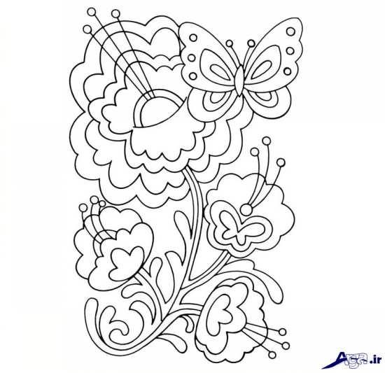 طرح گل و پروانه برای گلدوزی