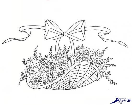 طرح سبد گل برای گلدوزی