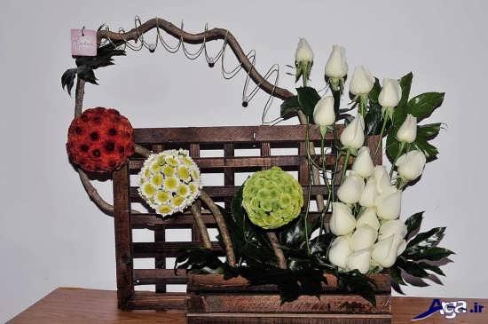 تزیین ساده گل در سبد